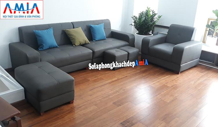 Hình ảnh Bộ ghế sofa văng da Hàn Quốc đẹp hiện đại kê phòng khách chung cư