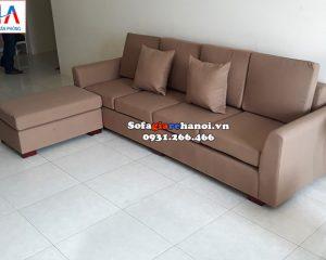 Hình ảnh Sofa nỉ văng phòng khách nhỏ kèm đôn lớn ghép lại thành hình chữ L linh hoạt, tiện lợi