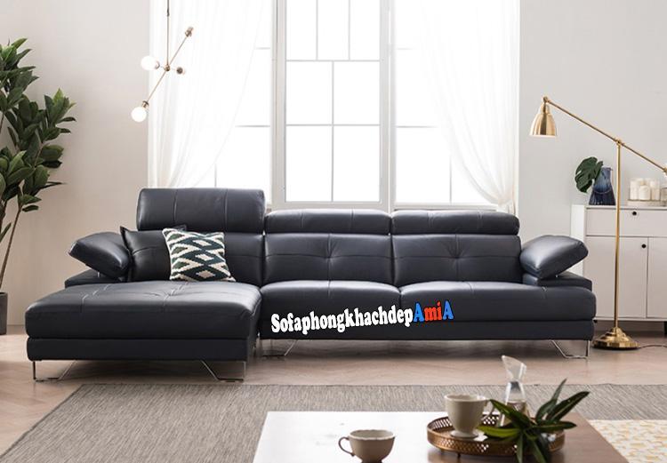 Hình ảnh Bộ ghế sofa da đẹp cho phòng khách hiện đại thiết kế hình chữ L