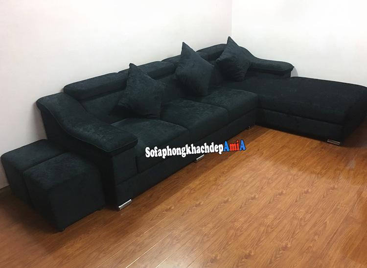 Hình ảnh Các mẫu sofa nỉ phòng khách đẹp thiết kế hình chữ L hiện đại và tiện lợi