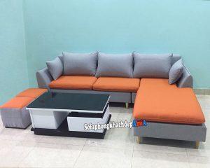 Hình ảnh Bàn ghế sofa nỉ phòng khách Hà Nội nhỏ đẹp kết hợp bàn trà