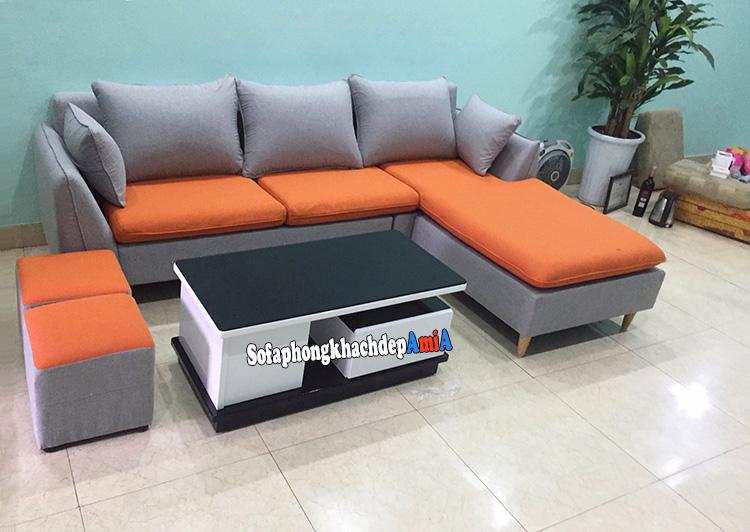 Hình ảnh Bàn ghế sofa nỉ phòng khách Hà Nội với gam màu cam nổi bật