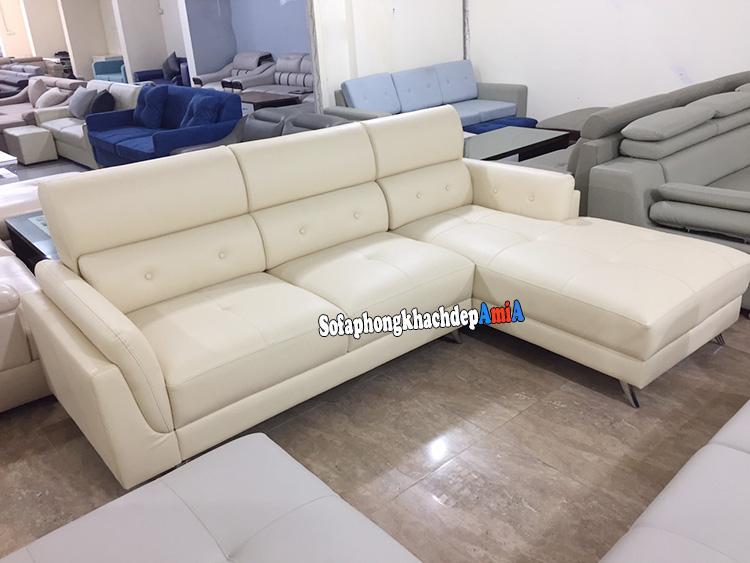 Hình ảnh Bộ ghế sofa da đẹp chữ L phòng khách hiện đại và sang trọng