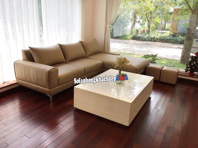 Hình ảnh Ghế sofa da nhập khẩu Malaysia hình chữ L hiện đại