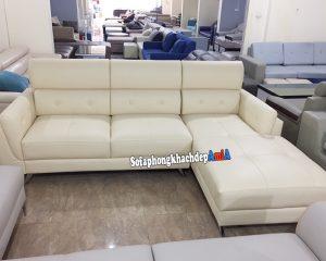 Hình ảnh Sofa da cho phòng khách kiểu chữ L 3 chỗ hiện đại