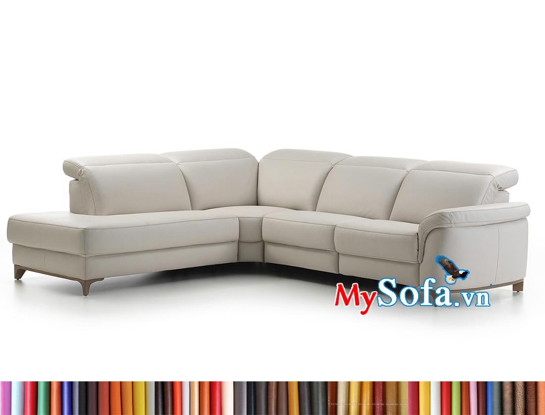 Bộ ghế sofa da màu trắm kem