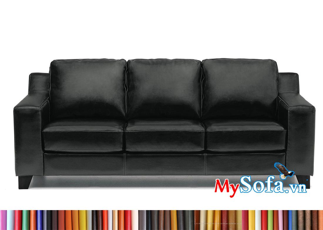 Mẫu ghế spfa da màu đen sang trọng cho phòng khách nhỏ