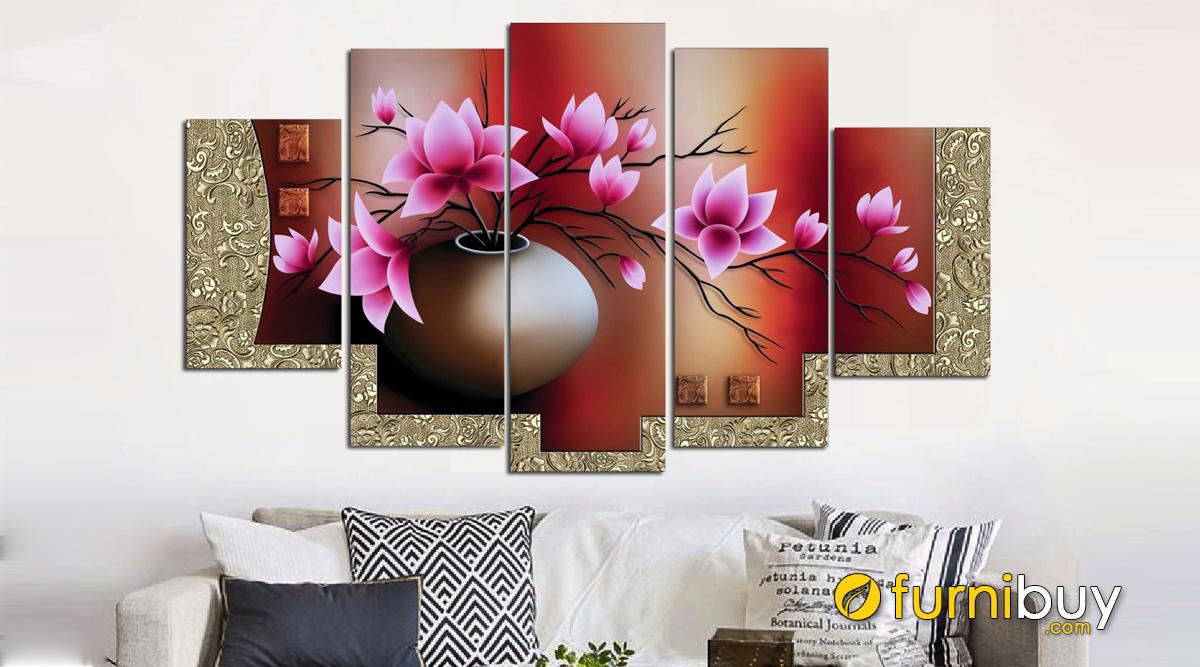 Hình ảnh Tranh bình hoa sen đất treo tường đẹp là mẫu tranh bán cực chạy