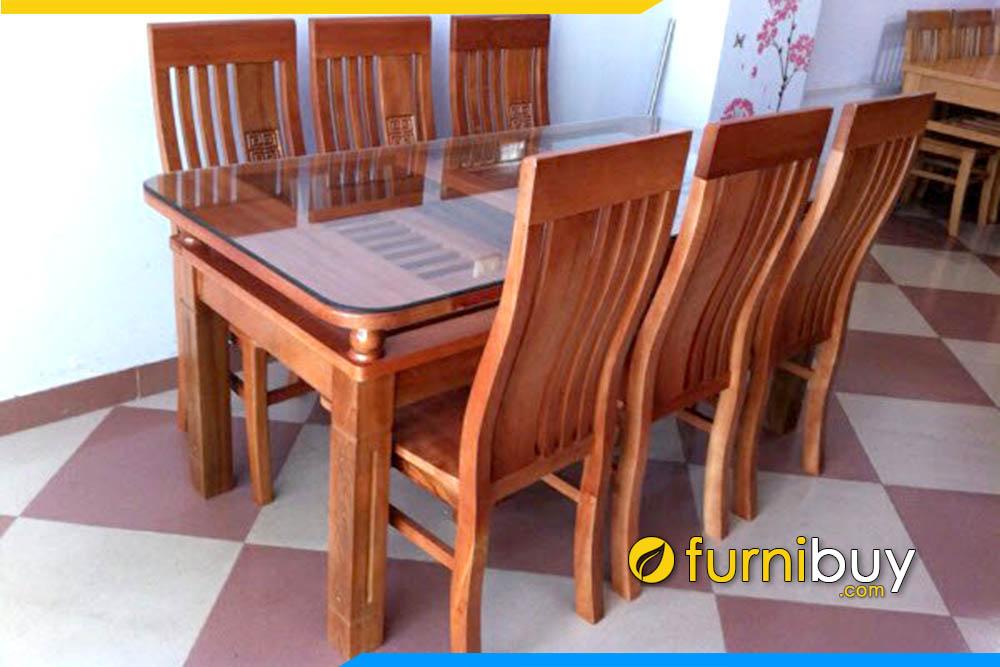 bộ bàn ăn gỗ 2 tầng 6 ghế giá rẻ BA014