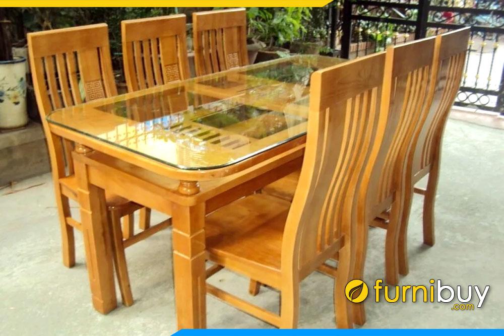 Mẫu bàn ăn gỗ sồi 6 ghế đẹp chữ nhật