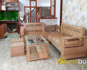 sofa gỗ sồi góc chữ L đẹp