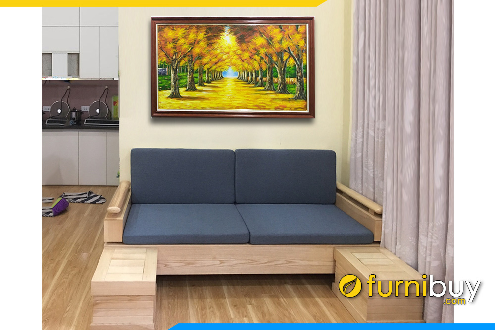 sofa văng gỗ sồi 2 chỗ ngồi nhỏ gọn