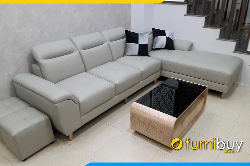 Ghế sofa góc chữ L bọc da màu be kem có tay tựa thoải hướng da ngoài độc đáo