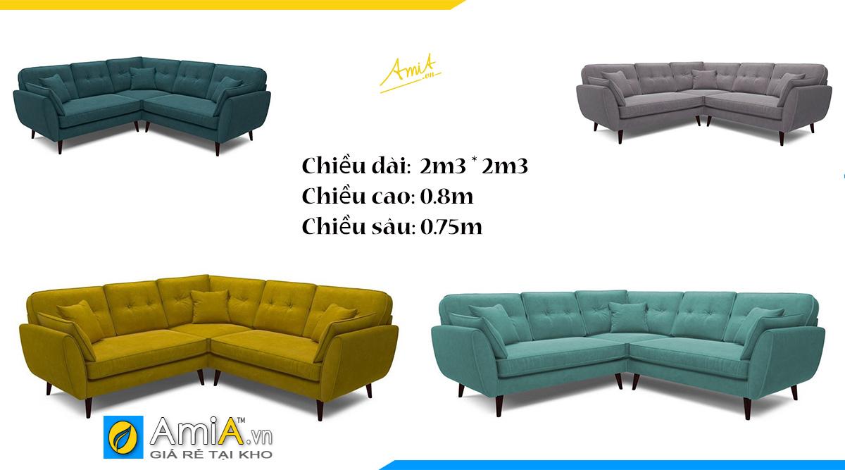 Mẫu sofa góc chữ V dài 2m3 có tay vịn lịch sự- chân ghế nhỏ bằng gỗ tạo cảm giác trẻ trung (có thể thay đổi màu sắc và kích thước)