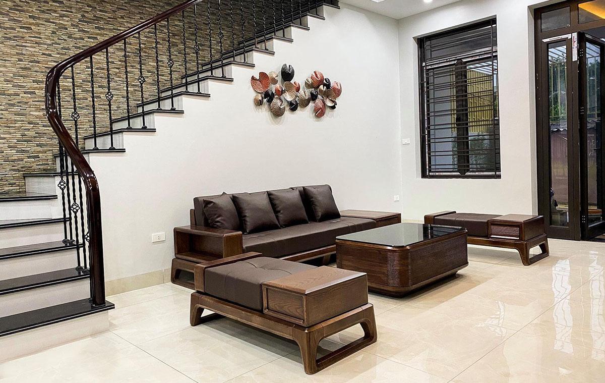 Sofa gỗ Sồi nhuộm màu Óc chó sang trọng