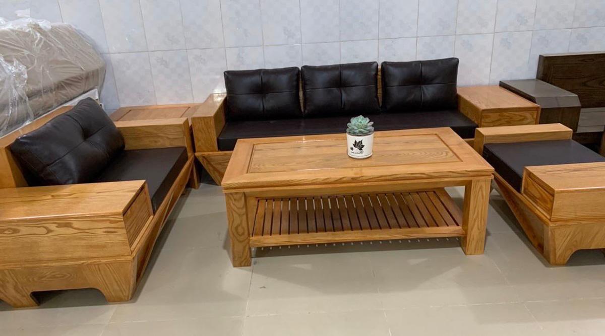 Sofa gỗ Sồi theo bộ gồm 1 văng 1 ghế chủ và ghế đơn
