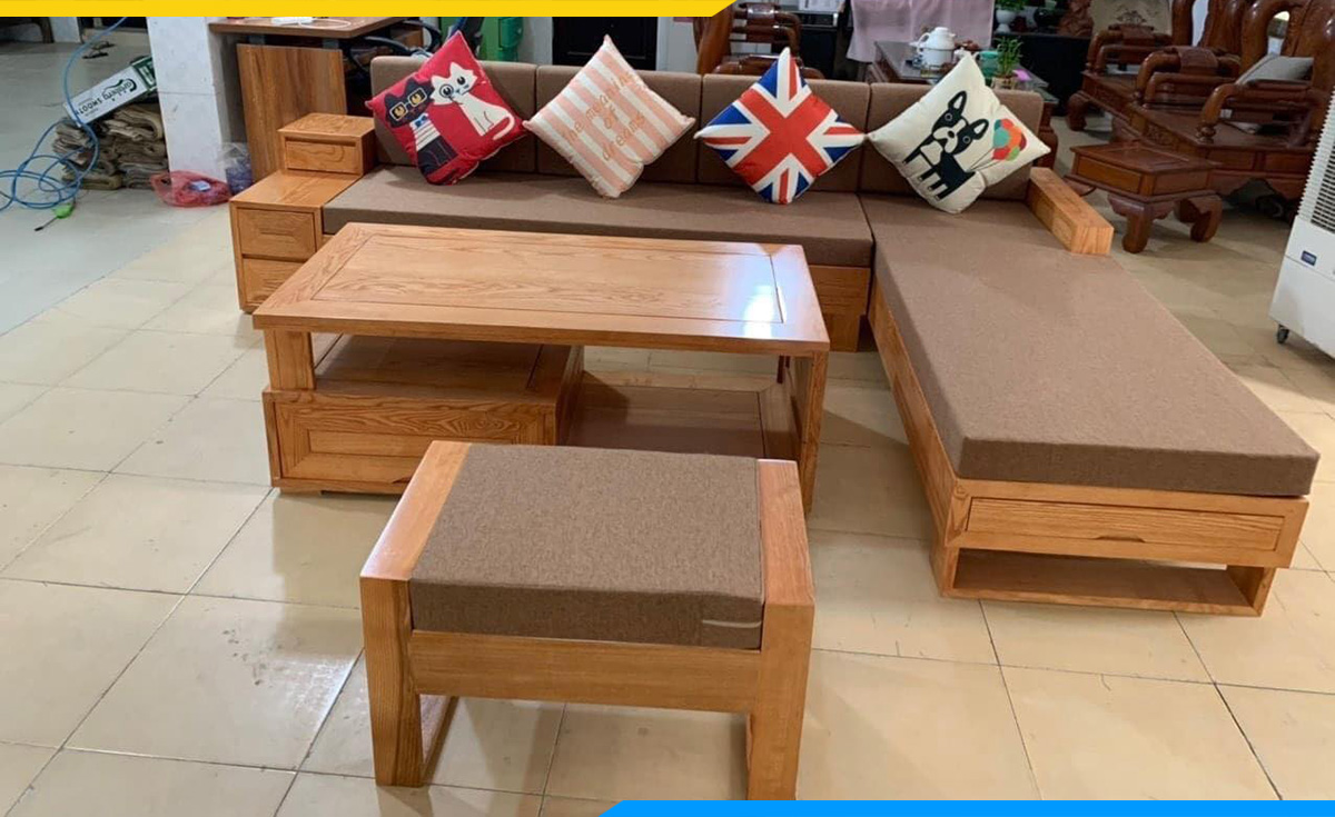 Bộ bàn ghế sofa góc gỗ Sồi với màu nâu ấm cúng cho căn phòng