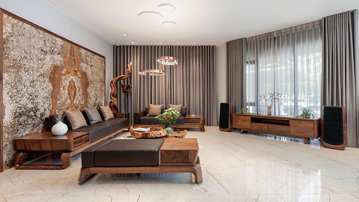 Sofa gỗ cho biệt thự sang trọng