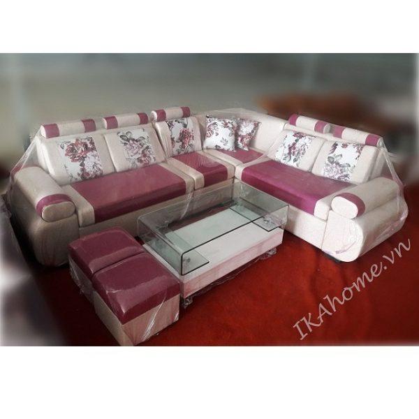 Bộ sofa nỉ màu đỏ mận pha kem