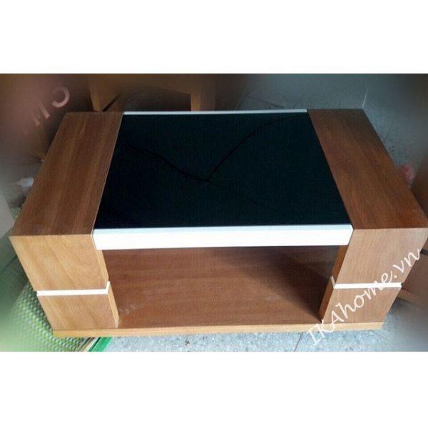 Mẫu bàn trà khung gỗ mặt kính