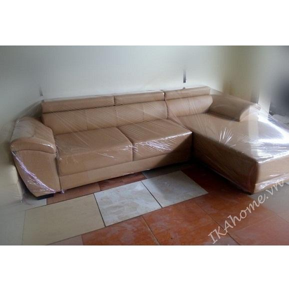 Hinh anh mau sofa da cleo tone trang kem trang nha
