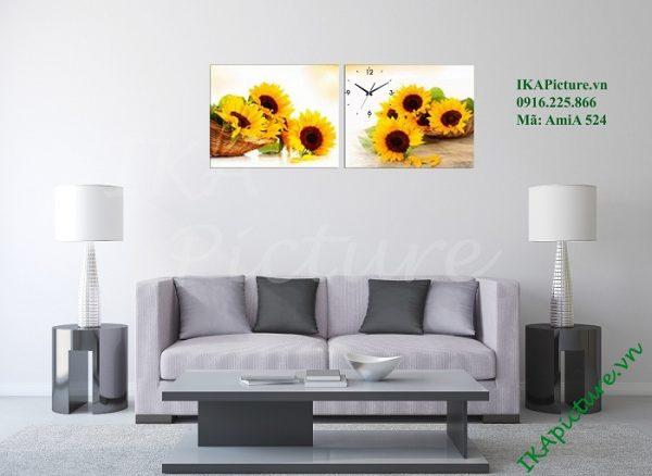 Mẫu tranh hoa hướng dương tràn đầy sức sống trang trí phòng khách