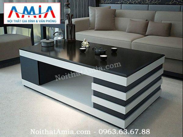 Hình ảnh cho mẫu bàn trà gỗ mặt kính đen sang trọng AmiA BTR 142