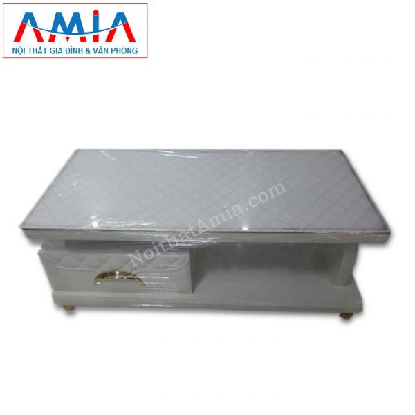 Hình ảnh cho mẫu sản phẩm bàn trà gỗ màu trắng mặt kính trắng BTR 147