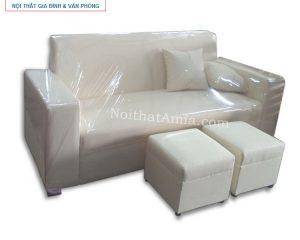Hình ảnh cho mẫu sofa văng da màu trắng AmiA SFV057