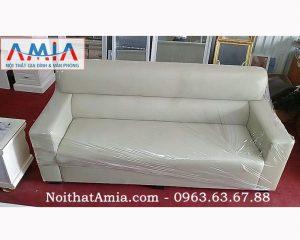 Hình ảnh cho mẫu sofa văng da màu trắng sữa đẹp hoàn hảo trong không gian phòng khách hiện đại