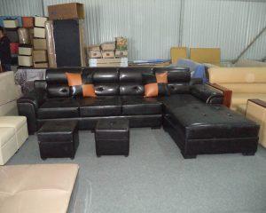 Hình ảnh cho mẫu sofa da màu đen dạng chữ L đẹp hiện đại cho căn phòng khách sang trọng