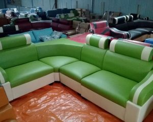 Hình ảnh cho mẫu sofa da góc giá rẻ màu xanh cốm cho không gian phòng khách đẹp