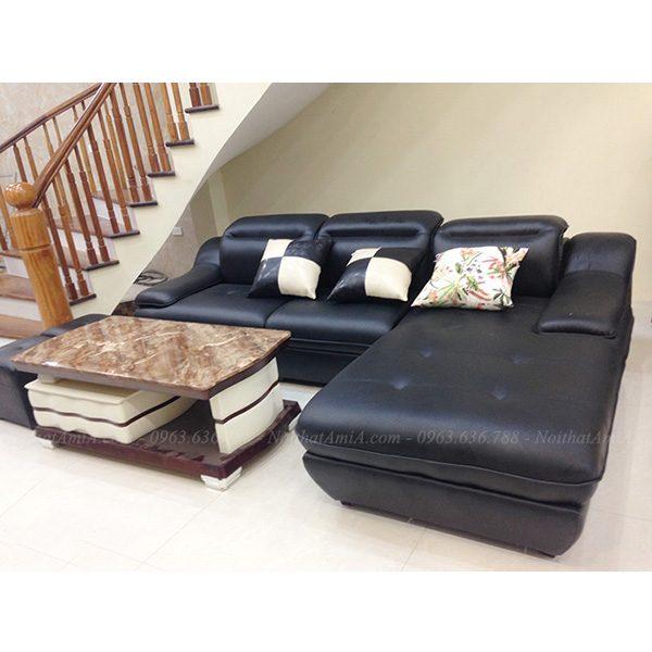 Hình ảnh mẫu ghế sofa da góc chữ l đẹp hiện đại với thiết kế rút khuy