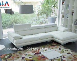 Hình ảnh cho mẫu ghế sofa da góc chữ L đẹp hiện đại với gam màu trắng tinh khôi