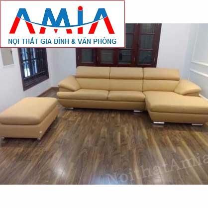 Hình ảnh cho bộ ghế sofa da góc chữ L được bài trí trong không gian phòng khách đẹp