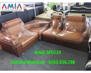 Hình ảnh mẫu sofa da góc giá rẻ đang được bán và trưng bày tại Kho AmiA