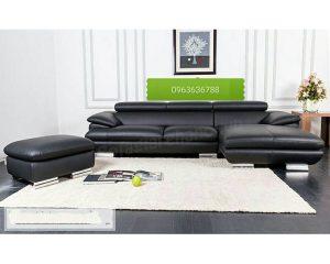 Hình ảnh ghế sofa da góc chữ L màu đen đẹp hiện đại, sang trọng và đẳng cấp