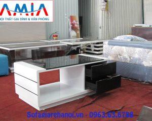 Hình ảnh mẫu bàn trà gỗ kính cường lực vói 2 gam màu trắng đen kết hợp