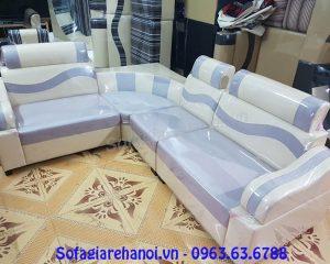 Hình ảnh mẫu ghế sofa góc giá rẻ với 2 gam màu trắng pha xanh kết hợp nhịp nhàng
