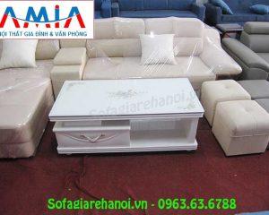 Hình ảnh mẫu bàn trà gỗ kính màu trắng đẹp hiện đại cho căn phòng khách sang trọng