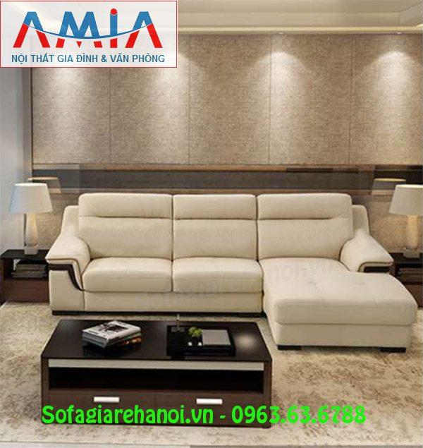 Hình ảnh ghế sofa da góc chữ L mang phong cách thiết kế hiện đại và sang trọng cho không gian căn phòng đẹp