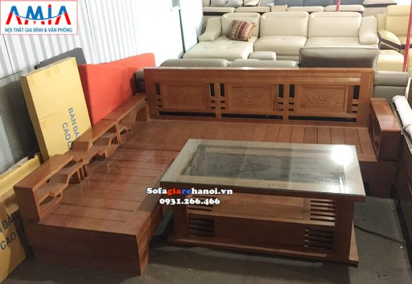 Hình ảnh Ghế sofa gỗ chữ L hiện đại cho phòng khách