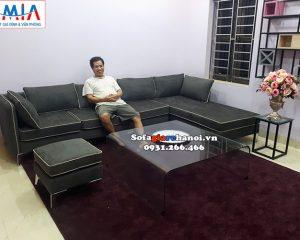 Hình ảnh Bộ bàn ghế sofa nỉ giá rẻ cho phòng khách lớn nhà phố, nhà chung cư