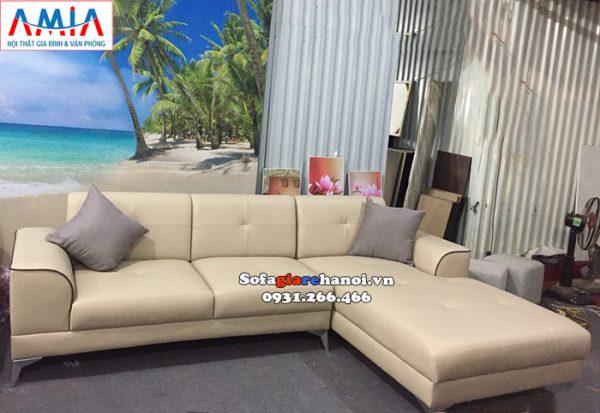 Hình ảnh sofa da góc chữ L kê phòng khách đẹp hiện đại nhà phố, nhà chung cư