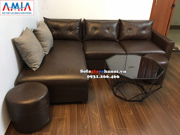 Hình ảnh Bộ ghế sofa da giá rẻ cho phòng khách nhỏ thiết kế hình chữ L 3 chỗ
