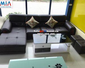 Hình ảnh Sofa da góc chữ L cho phòng khách đẹp hiện đại tại Hà Nội