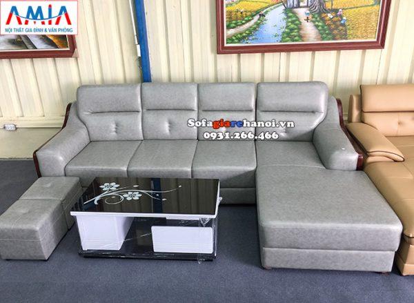 Hình ảnh Mẫu ghế sofa da đẹp cho phòng khách lớn thiết kế hình chữ L 4 chỗ độc đáo