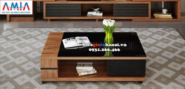 Hình ảnh Bàn trà gỗ giá rẻ Hà Nội mặt kính đẹp hiện đại