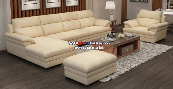 Hình ảnh Bộ ghế sofa phòng khách cao cấp chất liệu da Hàn Quốc chất lượng cao cho không gian rộng