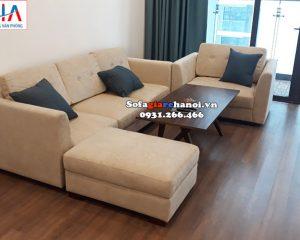 Hình ảnh Ghế sofa văng nỉ cho nhà chung cư hiện đại bài trí gần khu vực ban công
